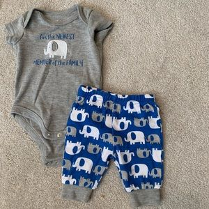 Baby boy onesie and pants for 0-3 months